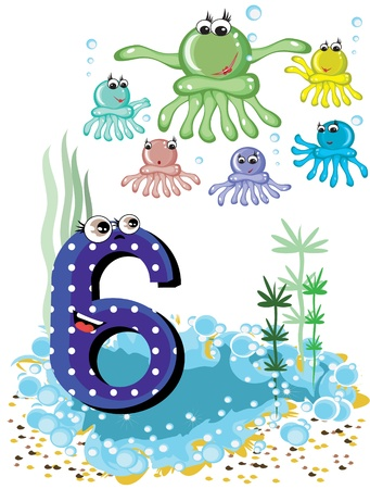 Sea animals and numbers series for kids ,6,octopuses Vector