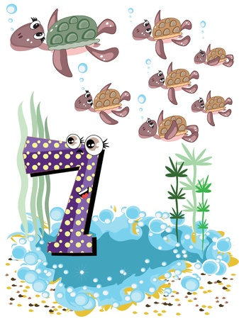 number of animals: Sea animals and numbers series for kids ,7 turtles Illustration