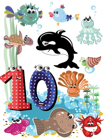 Sea animals and numbers series for kids ,10 Vector