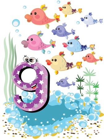 Sea animals and numbers series for kids,9 Stock Vector - 9930252