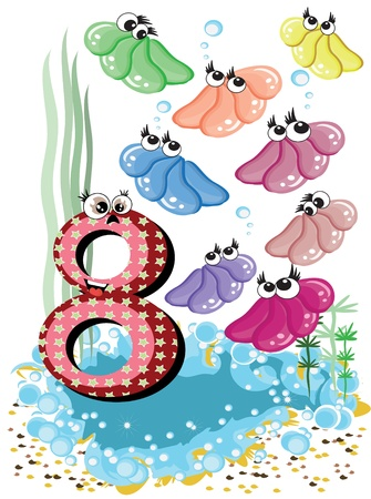 Sea animals and numbers series for kids, 8 Vector