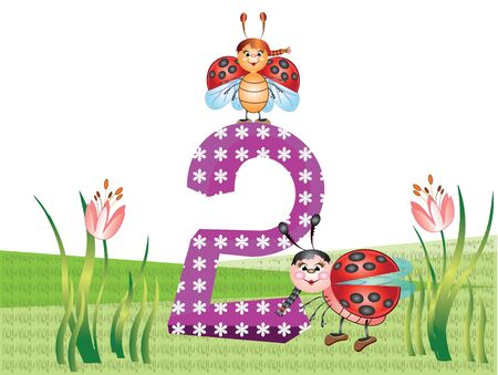 tulips in green grass: Numbers and insects series for kids,,2