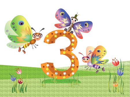 Numbers and insects series for kids,,3 Иллюстрация