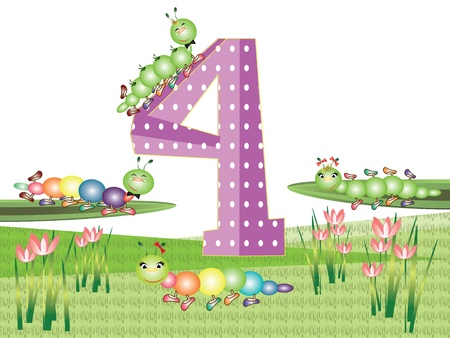 Numbers and insects series for kids,,4 Иллюстрация