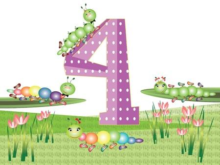 bruchi: Serie di numeri e insetti per bambini, 4 Vettoriali
