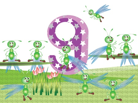 Numbers and insects series for kids,,9 Vector