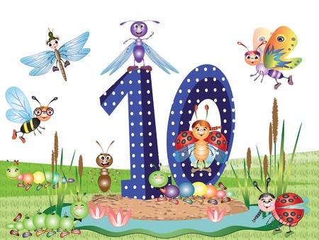 numero diez: Insectos y n�meros de serie para ni�os,, 10 Vectores