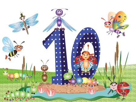 Numbers and insects series for kids,,10 Vector