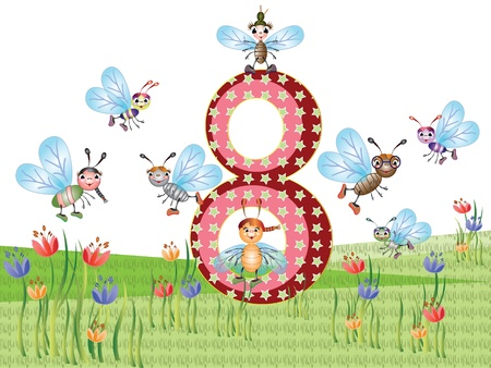 Insects and numbers series for kids,8 Vector