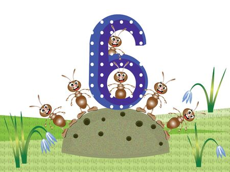 Insects and numbers series for kids,  6 Vector