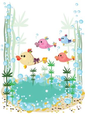 algen: Aquarium, leuke cartoon vis Stock Illustratie