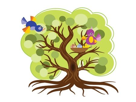 Tree with birds,vector Vettoriali