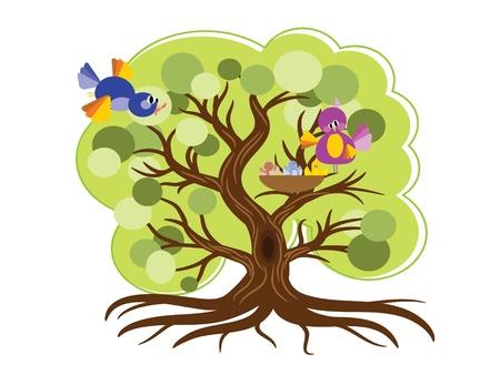 Tree with birds,vector Vector