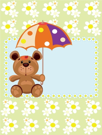 BEar with umbrella,vector