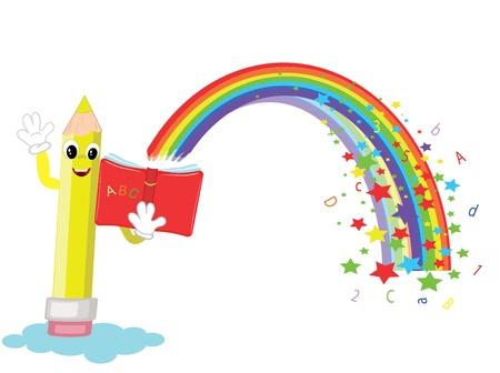 preschool poster: Pencil with book,cartoon,vector. Illustration