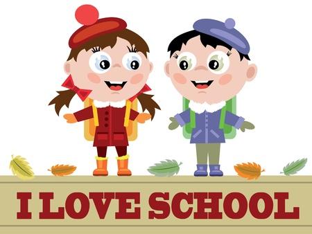 sign  childhood: Funny pupils and words I love school Illustration