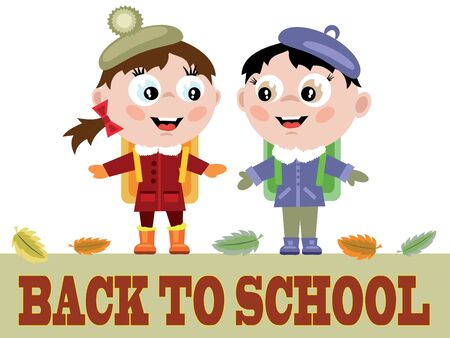 Funny pupils and words Back to school Vector