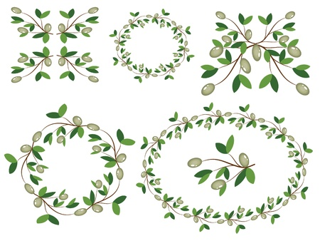 Decor with olive branches.  Stock Vector - 9953042