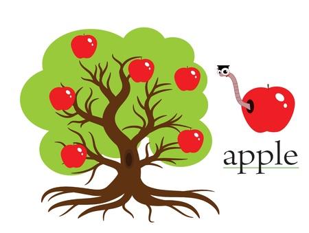 gusanos: Ilustraci�n de �rbol de Apple