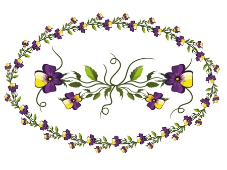 Decor with pansies Vector
