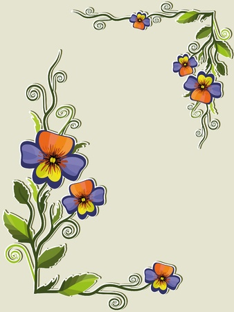 Frame with pansies Vector