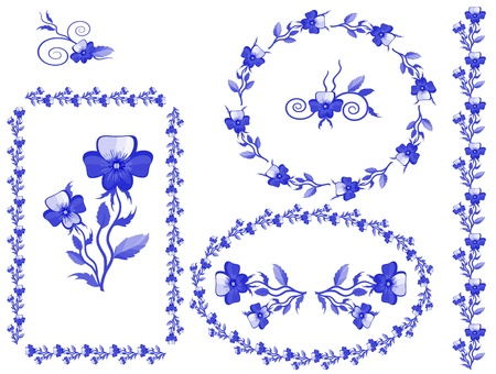 Decor with pansies, vector, Vector