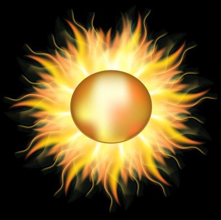 Vector gold sun ,used mesh Reklamní fotografie - 10041254