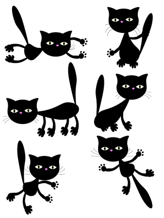 cats playing: black cats. Illustration
