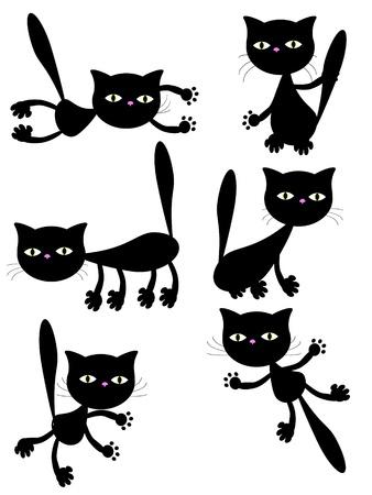 pounce: black cats. Illustration