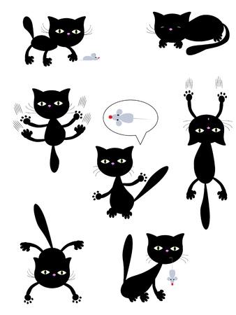 sit shape:  black cats. Illustration