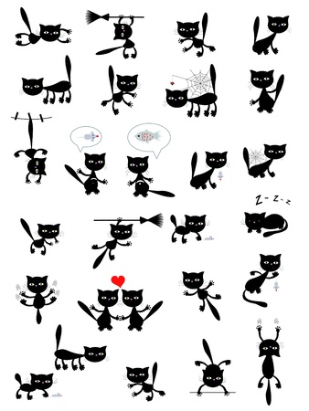 cats playing: Big set of the black cats.