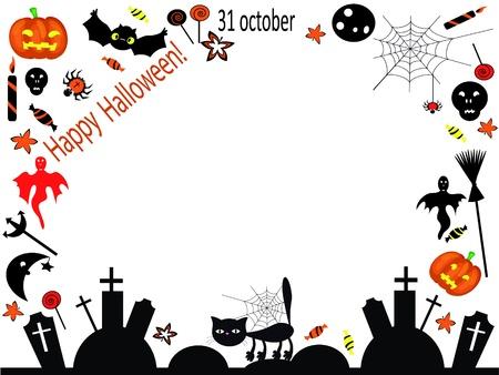 calendario octubre: Marco de Halloween Vectores