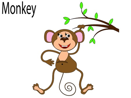 alphabet tree:   Vector animals,monkey