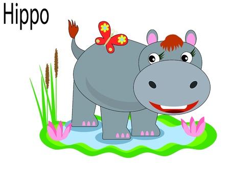 spelling book:   Vector animals,hippopotamus. Illustration