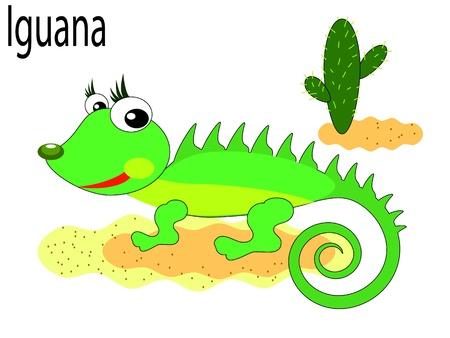spelling book:   Vector animals,iguana