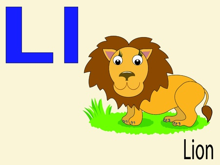 alphabet wallpaper: Animal alphabet L Illustration