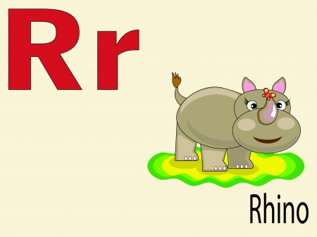 alphabet wallpaper: Animal alphabet R Illustration