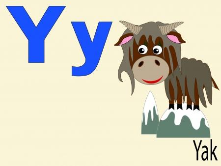 Animal alphabet Y Vector
