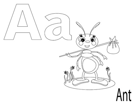 Coloring Alphabet for Kids, A Vector