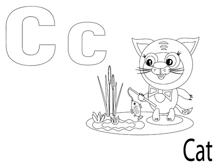 Coloring Alphabet for Kids, C Vector
