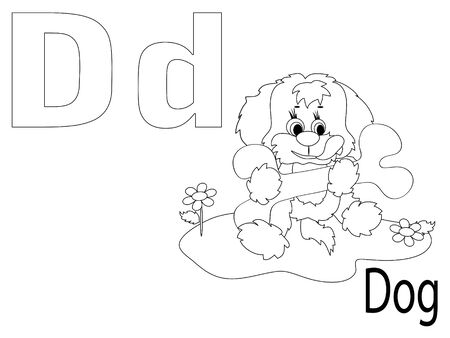 Coloring Alphabet for Kids, D Vector