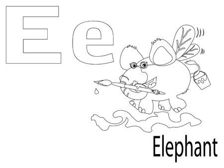 Alfabeto Para Colorear Para Niños, E Ilustraciones Vectoriales, Clip ...