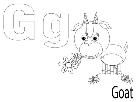Coloring Alphabet for Kids, G Vector