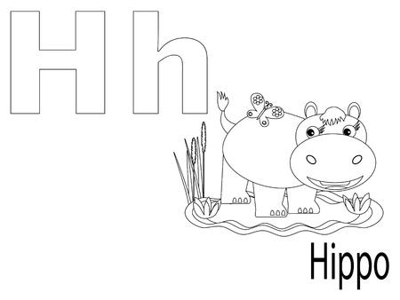 hipopotamo caricatura: Alfabeto para colorear para niños, H Vectores