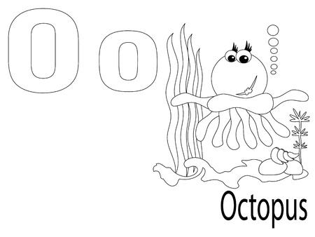 Coloring Alphabet for Kids ,O Vector