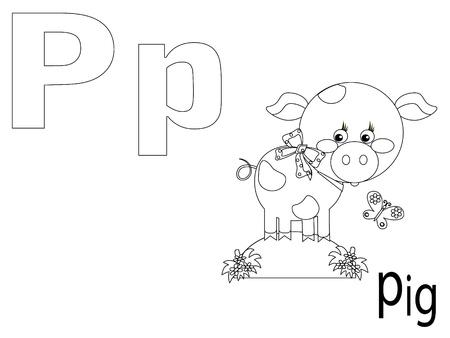 clip art draw: Coloring Alphabet for Kids ,P