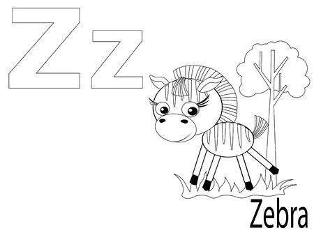 Coloring Alphabet for Kids ,Z Stock Vector - 10286320