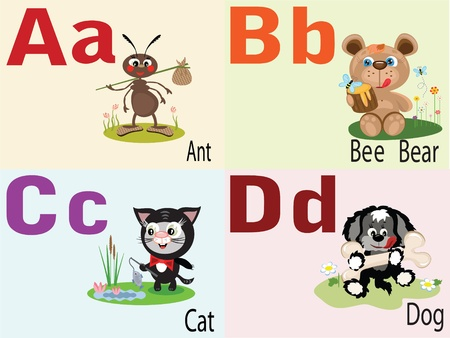 Animal alphabet A,B,C,D. Vector