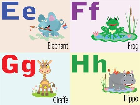 alfabeto con animales: Alfabeto animal E, F, G, H. Vectores