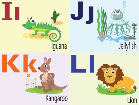 Animal alphabet I,J,K,L. Vector
